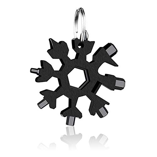 18-in-1 Schneeflocken Multi-Tool,Multitool Edelstahl Fahrrad Multifunktionswerkzeug,Karte Schlüsselanhänger Flaschenöffner Ringschlüssel Schnee Schlüsselbund,werkzeug schneeflocke (Schwarz)