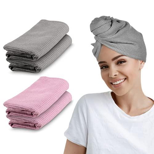 B BY C Haarturban – [2 STK.] – Oeko-Tex Zertifiziert – Turban Handtuch mit Knopf – extra saugfähiges Mikrofaser Handtuch für Lange Haare