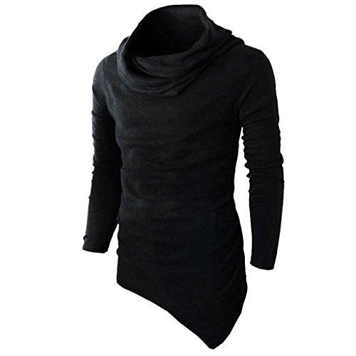 YunYoud Männer Slim Fit Tuetleneck Tops Lange Ärmel Muskel Hemd Herren Einfarbig Patchwork Blusen Mode Beiläufig T-Shirt Irregulär Pullover Sweatshirt (XL, Schwarz)