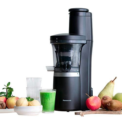 Panasonic Slow Juicer MJ-L700 (Entsafter für Gemüse/Obst, automatische Saftpresse, Sorbet Herstellung, Edelstahl, Kunststoff, 150 W, mattschwarz)