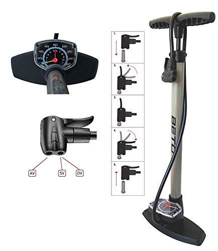 P4B | Luftpumpe mit Grossem Manometer | Fahrradpumpe für alle Ventile - Dunlop Ventil, Französisches Ventil, Auto Ventil | Standpumpe 11 bar/160 psi (Titanium)