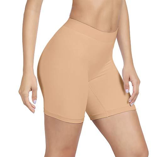 SIHOHAN Damen Unterhosen, Lange Frauen Panties, hohe Taille und Bequem(1 x Beige,L)