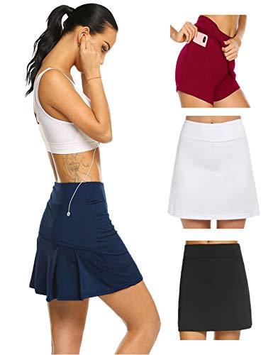 Damen Rock Kurz Tennisrock Yoga Skort mit Innenhose Taschen Sportrock Sportswear-Rock für Frauen Mädchen Golf Sport M