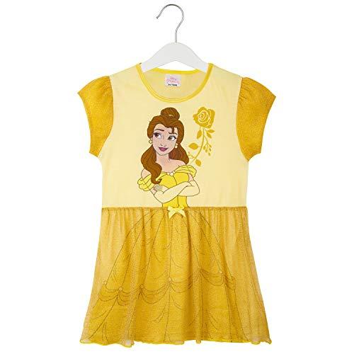 Disney Nachthemd Mädchen, Kinder Unterwäsche Mädchen mit Prinzessinen Belle, Rapunzel, Jasmine, Ariel und Aschenputtel, Prinzessin Kleid Mädchen mit Netz (Gelb, 7-8 Jahre)