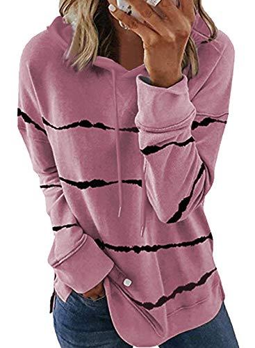 SMENG Oversize Pullover Damen Gestreiftes Kapuze Sweatshirt Oberteile Dünne Langarm Kapuzenpullover Mit Kordelzug Mode Hoody Tunika-Top Rosa L
