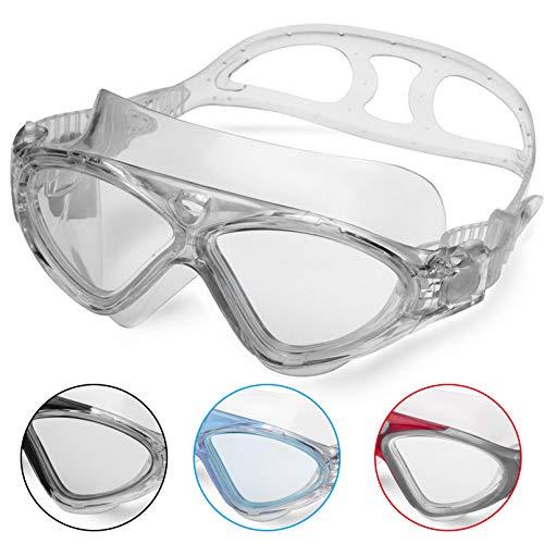 Schwimmbrille Erwachsene Anti Fog Ohne Leakage deutlich Anblick UV Schutz 180°Weitsicht Einfach zu anpassen,Professional Super komfortabeler Schwimmbrille für Herren und Damen(Gray/Clear Lens)