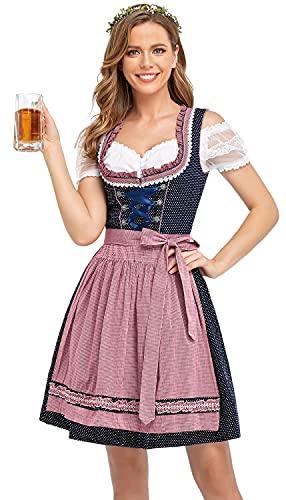 BENNIES Dirndl Damen midi Trachtenkleid Damen Trachtenrock Trachtenmode Kleid Dirndlbluse für Oktoberfest Rosa 48