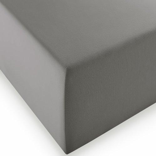 sleepling Komfort Jersey-Elastic Stretch Spannbettuch Spannbettlaken für Matratzen bis 30 cm Höhe (215 gr. / m²) mit 3% Elastan 180 x 200-200 x 220 cm, grau