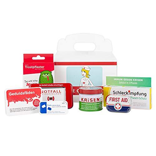 Erste Hilfe Geschenk-Box - Gute Besserung Geschenke - Witzige Süßigkeiten - mit Notfallschokolade, Geduldsfäden ideal als Geburtstags-Geschenk (7-teilig)