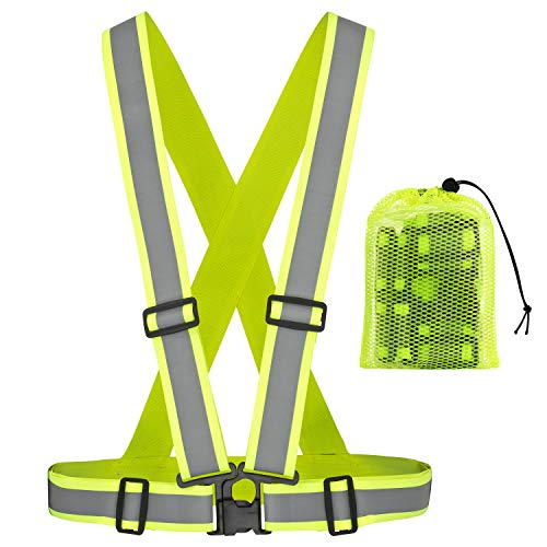 freemind Premium Reflektorweste mit extra breitem Reflektor, 360 Grad Sichtbarkeit, verstellbar und elastisch, für mehr Sicherheit beim Jogging, Fahrrad Fahren, inkl. Beutel