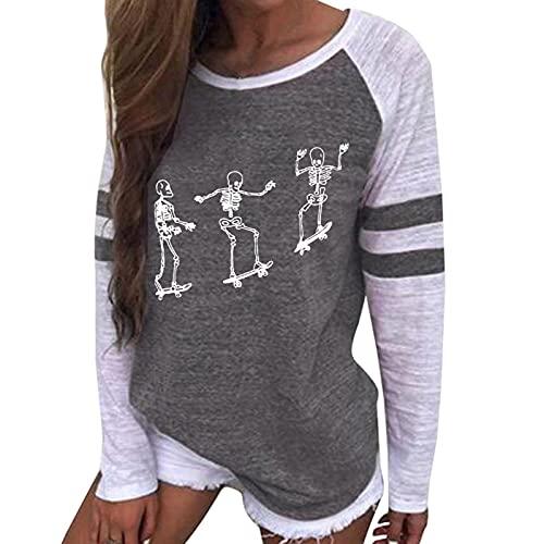 Langarmshirts Damen Langarm Pullover Blusen Baseball Langarm Tshirt Schädel Drucken Halloween Langarm Tops Basic Tee Shirt