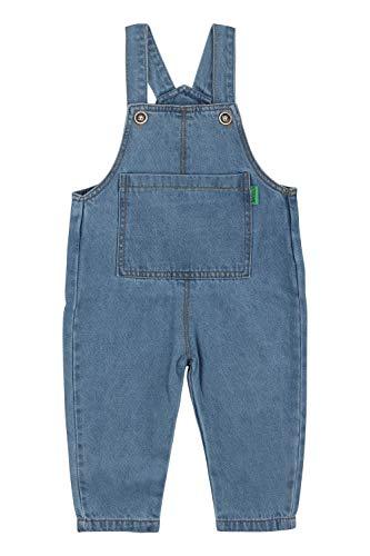 Camilife Basic Denim Latzhosen für Baby Kleinkind Kinder Jungen Mädchen 1-4 Jahres alt Baumwolle Overall Jeans Hose mit Hosenträger - Einfarbig Classic Hellblau Jeans Größe 100