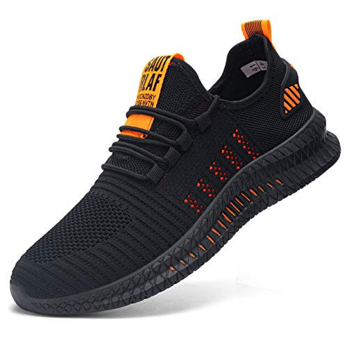 Kefuwu Laufschuhe Herren Sportschuhe Straßenlaufschuhe Sneaker Joggingschuhe Atmungsaktiv Turnschuhe Walkingschuhe Traillauf Fitness Schuhe Outdoor(Schwarz Orange 40)