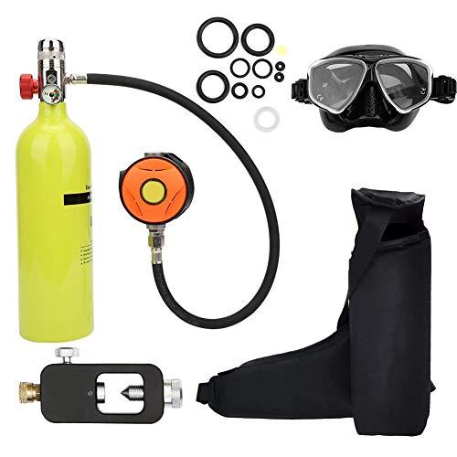 Sauerstoffflasche Kit, Mini Taucherflasche Tauchausrüstung Set, Pressluftflasche Schnorcheln Unterwasser Atemgerät Tauchausrüstung Taucher Zubehör, Nchfüllbarem Design(Grün)