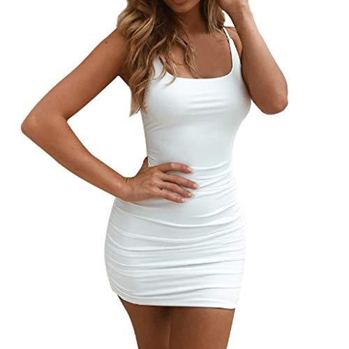 SANNYSIS Kleid Damen Sommer Kurz Stretch Vest Dress Spaghetti Strap Tank Top Bodycon V-Ausschnitt Schulterfrei Kleider Elegant Strandkleider Minikleid Partykleider (S, Weiß)