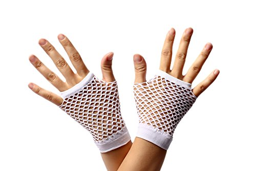 DRESS ME UP - RH-005-white Handschuhe Netzhandschuhe Weiß fingerlos fingerfrei Netz kurz 80er Punk Rocker Wave Gothic Emo