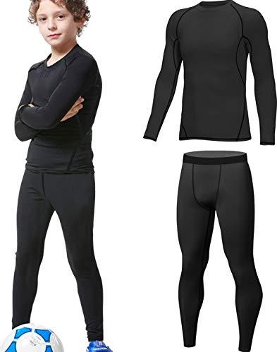 HOPLYNN - Thermounterwäsche Set für Kinder Funktionsunterwäsche Skiunterwäsche Jungen Atmungsaktiv Thermo Unterwäsche Warme Fussball Ski Schwarz M