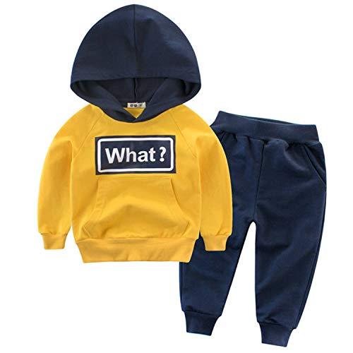 Snyemio Trainingsanzug Jungen Jogginganzug Kapuzenpullover Anzug Sweatshirt & Hosen Set Sportanzug Kleidungssätze 2-7 Jahre, Gelb, 98-104 (Etikett 100)