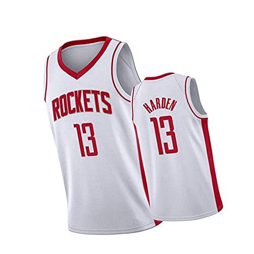 FZLQ Männer Sleeveless Basketball-Trikots Raketen # 13 James Harden, Dri-Fit Sleeveless Sport T-Shirt für Team und Spieler White3-XXL