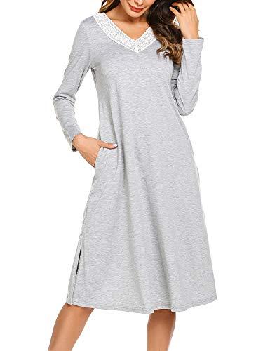 ADOME Damen Lang Nachthemd Langarm Sleepwear Spize am V-Ausschnitt Nachtkleid Still A-Linie Schlafkleid Casual Nachtwäsche Baumwolle Herbst Unterkleid grau m