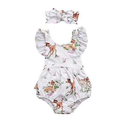 Allence Babykleidung Mädchen Volltonfarbe Kurze ÄRmel RüSchen Oberteile + Blumenmuster Latzhose Mit Bogen Kleidung Set