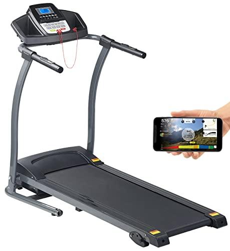Newgen Medicals Laufband elektrisch: Profi-Laufband mit App & Bluetooth, Pulsmesser, 12 Programme, 1.100 W (Lauftrainer)