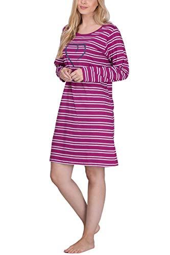 Moonline Damen Nachthemd kurz Sleepshirt aus 100% Baumwolle von Größe S - 4XL, Farbe:Beere, Größe:56-58