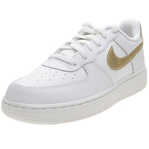 Nike Jungen Mädchen Force 1 (PS) Basketballschuhe, weißo Summit Weiß MTLC Gold Star Summit Weiß 127, 29.5 EU