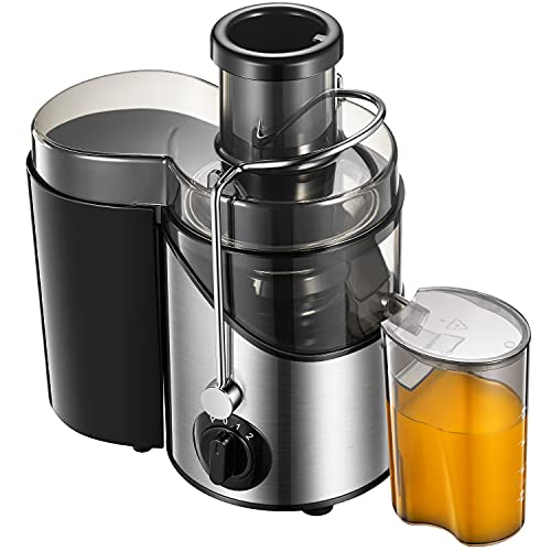 Entsafter für Obst und Gemüse, Zentrifugaler Entsafter mit 75mm Große Einfüllöffnung, 3-Mode, 2 Geschwindigkeit, Anti-Tropf-Funktion, Edelstahlgehäuse, BPA frei