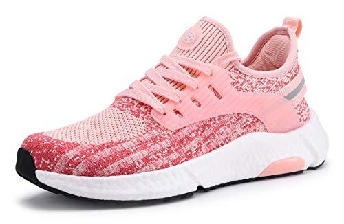 ZUSERIS Damen Herren Sneaker Walkingschuhe Straßenlaufschuhe Laufschuhe Turnschuhe Freizeitschuhe Fitness Outdoor Atmungsaktiv Sportschuhe Pink 40EU