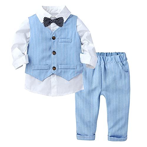 FEESHOW Jungen Anzüge Gentleman Smoking Anzug Fliege Hemd Anzugsweste Hose 3tlg Schicker Kleinkind Babykleidung Taufe Geburtstagsparty Bekleidungsset Blau 98-104
