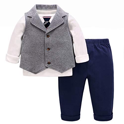 Famuka Baby Anzüge Baby Junge Sakkos Taufe Hochzeit Babybekleidung Set (Blau, 80)