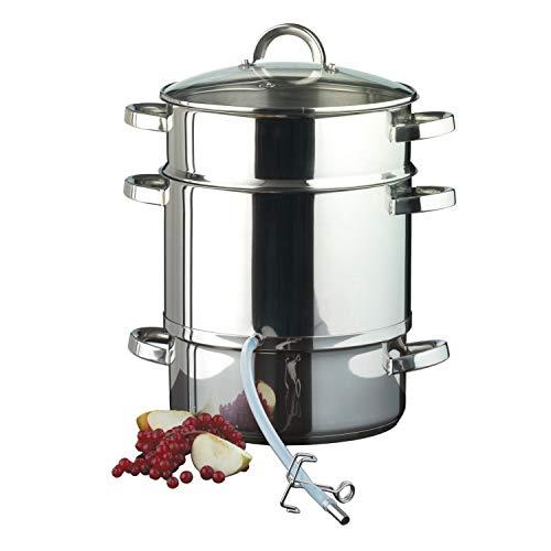 Ribelli Entsafter aus Edelstahl induktionsgeeignet ca. Ø 25 cm ca. 8 Liter Füllvolumen Dampfentsafter mit Glasdeckel - schonendes Entsaften von Obst und Gemüse