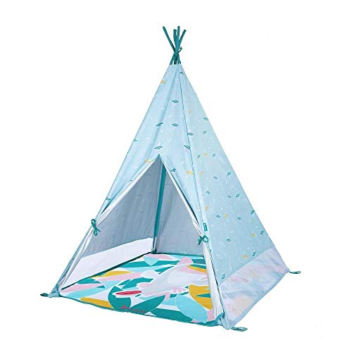 Badabulle B038000 Tipi Jungle Spielzelt & Indianerzelt mit UV-Schutz, Indoor/Outdoor nutzbar, 120 x 100 x 100 cm, blau