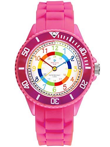 Alienwork Alienwork Kids Lernuhr Kinderuhr Mädchen Uhrzeit Lernen rosa Silikon-Armband Mehrfarbig Kinder-Uhr Wasserdicht 5 ATM