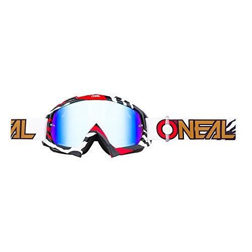 O'NEAL | Fahrrad- & Motocross-Brille | MX MTB DH FR Downhill Freeride | Hochwertige 1,2 mm-3D-Linse für ultimative Klarheit, UV-Schutz | B-10 Goggle | Unisex | Schwarz Rot verspiegelt | One Size