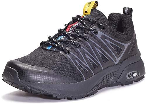 Eagsouni Laufschuhe Herren Damen Traillaufschuhe Sportschuhe Turnschuhe Sneakers Schuhe für Outdoor Fitnessschuhe Joggingschuhe Straßenlaufschuhe, Schwarz D, 43 EU