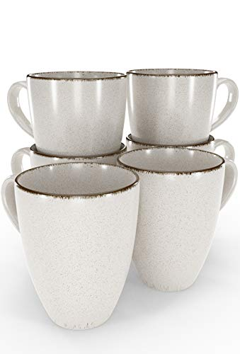 Tassen Set 6-tlg. - Kaffeetassen Set in Trendy Rustikalem Design in Beige - Spülmaschinenfeste Porzellan Tassen - Moderne Kaffeetassen 6er Set - Kaffeebecher Porzellan von Pure Living
