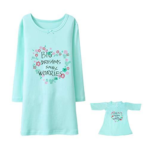 BLOMDES Nachthemd für Mädchen Weihnachten Nachthemd mit Puppenkleid für 5-6 Jahre eingestellt