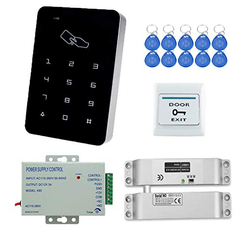 YAVIS RFID Zugangskontrolle System Kit Set Touchscreen Codeschloss Türöffner + Elektrische Schloss Drop Bolzenschloss + K80 3A-Netzteil + Exit-Taste + 10pcs RFID ID Keyfobs for Access Control System…