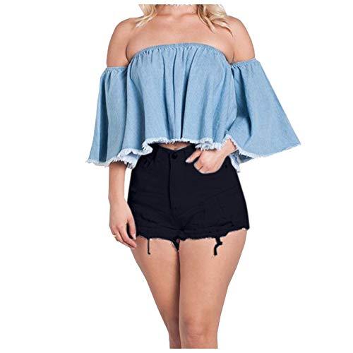 Ghemdilmn Stretch Hotpants Damen Jeans Stretch-Denim-Shorts für Damen mit hoher Taille Ausgefranste Shorts mit Taschen Jeansshorts