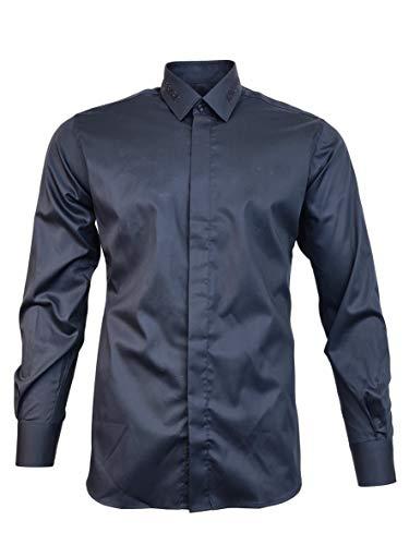 KARL LAGERFELD Hemd Logo Rue St. Guillaume Paris bestickt Kragen Modell 605031 502699, Blau 39