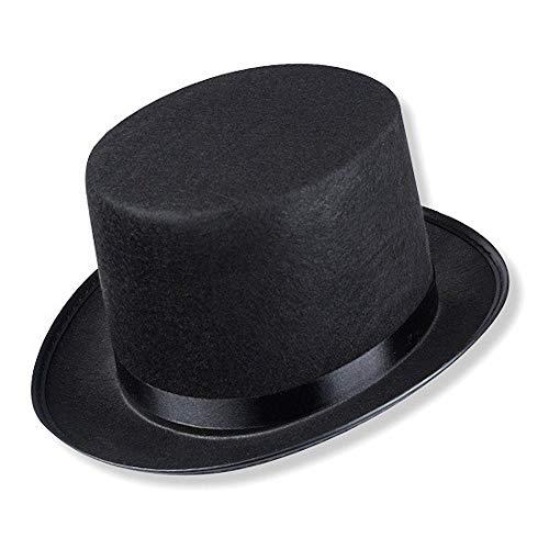 Schramm® Zylinder Hut mit Satinband Schwarz für Erwachsene Chapeau Zylinderhut