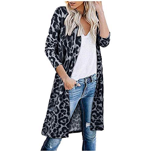 iHENGH Damen Herbst Winter Bequem Mantel Lässig Mode Jacke Frauen Langarm Leopardenmuster Tasche Mode Mantel Bluse T-Shirt Strickjacke Top(Kaffee, 2XL)