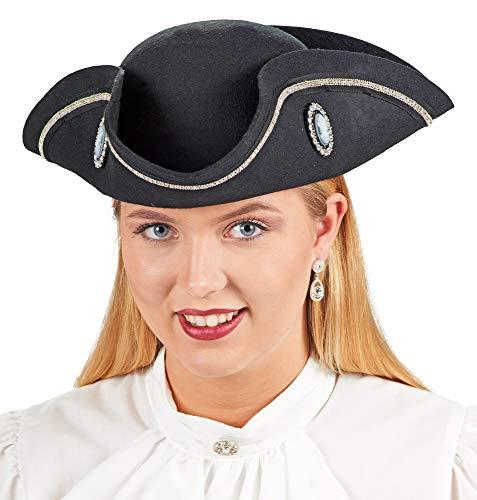 Andrea-Moden Dreispitz Piraten Hut Diamond für Damen - Schwarz - Zubehör Kostüm Seeräuberin Freibeuterin Renaissance Fasching Mottoparty