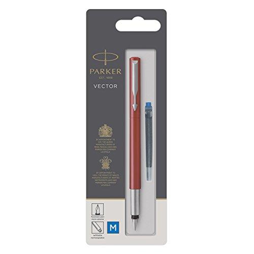 Parker Vector Füller | Rot | Füllfederhalter Mittlere Spitze | Blau Tinte