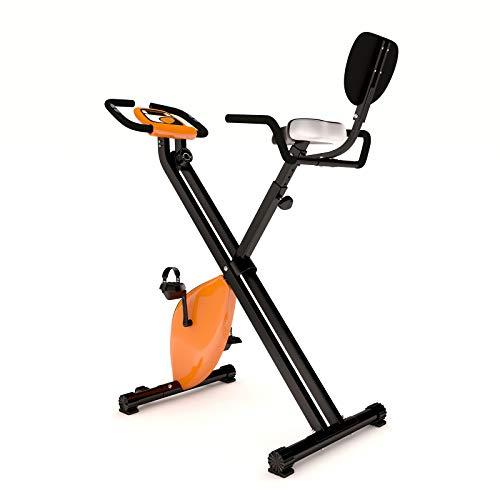 Physionics® Heimtrainer - klappbar, LCD-Display, Widerstand verstellbar, mit Handpulssensoren, Rückenlehne & Handauflage, bis 120kg - Hometrainer, Fahrradtrainer, Fitnessfahrrad, Fitnessbike, F-bike