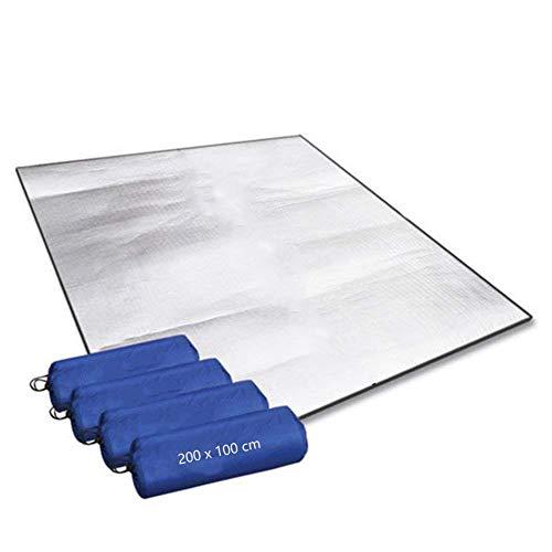Aehma Alu Isomatte Schaummatten Schlafmatte für Camping 200x100 cm Isoliermatte Isolierdecke Faltbare Zeltmatte Bodenmatte Thermomatte Matte aus Aluminiumfolie, Ultraleicht (Silber, 200 x 100 cm)