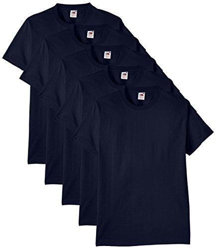 Fruit of the Loom Herren Regular Fit T-Shirt Heavy Cotton Tee Shirt 5 pack, Blau (Navy), XL