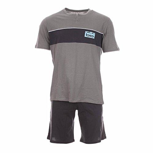 ATHENA Herren Pyjama Court Zweiteiliger Schlafanzug, Grau (Lichen Anthracite/Bas Anthracite), Small (Herstellergröße: 2)